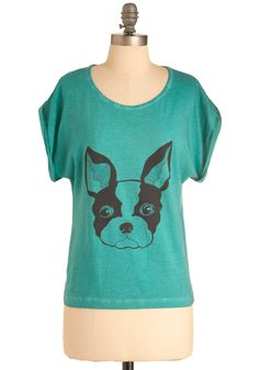 Puppy Eyes Top - Mid-length, Casual, Blue, Novelty Print, Short Sleeves, Black