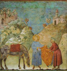 Assisi, Basilica di San Francesco, Oberkirche, Die Mantelspende, Fresko von Giotto (Basilica of St. Francis, Upper Church, St. Francis giving his mantle to a poor man) #TuscanyAgriturismoGiratola