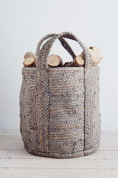 This basket is perfect for homes with more compact fireplaces and will hold enough logs for a whole night snuggled by the fire - very hygge. It's also ideal for laundry, toys or towels. Find more hygge decor inspiration at Home Decor Accessories, Decorative Accessories, Hygge Life, Cozy House, Decoration, Villa, Homes, Blue Grey, Interior Doors