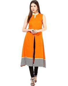 orange printed front slit kurti