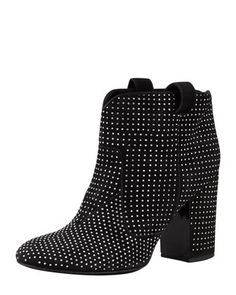 Pete Studded Suede Ankle Boot, Black/Silver by Laurence Dacade at Neiman Marcus.