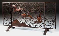 French Art deco: Wrought iron fire screen, attributed to Edgar BRANDT.