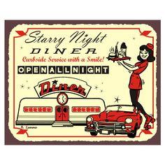 Diner Signs Retro Vintage Wall Decor, Restaurant Art, Theme Decor found on Polyvore