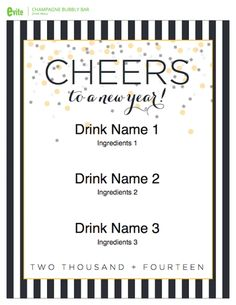 New Year's Eve Champagne Bar free printables! See more party ideas at CatchMyParty.com. #freeprintables #newyears