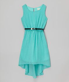 Look at this Btween Mint & Black Dot Belted Dress on #zulily today!
