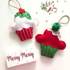 Christmas Cupcake Ornaments / Xmas Felt Ornament / Whimsical Cupcake Xmas Decor Ornament / Cupcake Christmas Ornaments / Set of 2 / Handmade