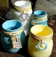 Beach Inspired Painted Jars :: Hometalk
