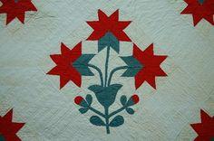 Vintage 1880s Turkey Red Green Peony Applique Antique Quilt Unusual Design | eBay