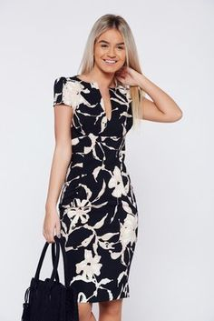 Comanda online, Rochie PrettyGirl neagra eleganta tip creion cu buzunare. Flowery Dresses, Cute Dresses, Beautiful Dresses, Casual Dresses, Short Dresses, Girls Dresses, Chic Outfits, Dress Outfits, Karen