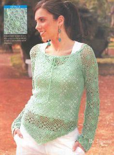 Crochet - Sueter de mangas cortas tunica hermosa dejo patron