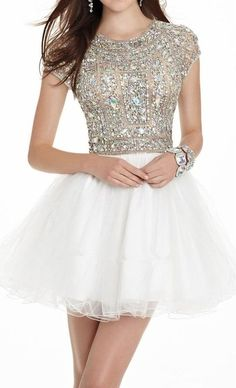 Shiny Beaded Homecoming Dress, Tulle Homecoming Dress, Short Sleeves Homecoming Dress