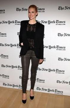 January Jones: leather and lace street-style-i-like