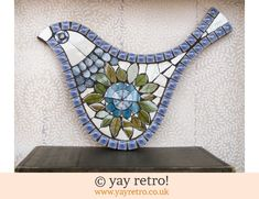This stunning large bird mosaic has been recently created by accomplished artist Fiona Gurney using pieces of vintage J&G Meakin Topic china, it's 'wings'...