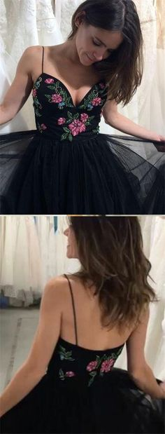Sexy flower black long tulle prom dresses,summer spaghetti strap a line party gowns,fashion dress for teens