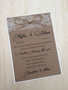 Rustic wedding invitation lace invitation by RusticInvitesAndmore
