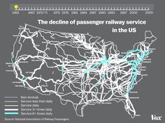 Watch American passenger rail shrivel up and die in this animated map