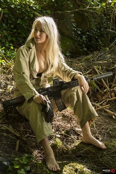She takes a moment to take a break from the triple canopy and dry her feet.Old school special operations types all know: Mobility is life, therefore foot maintenance is important.Geissele Mk4 Rail, Magpul MBUS Pro, B5 Systems Enhanced SOPMOD stock, Eotech XPS 2-0and Silencerco SakerModel: Bethy