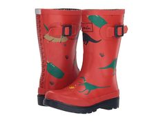 Joules Kids Printed Welly Rain Boot (Toddler/Little Kid/Big Kid) Boys Shoes Red Dinosaur Joules Kids, Kids Prints, Boys Shoes, Big Kids, Soft Fabrics, Rubber Rain Boots, Puddle Jumping, Color Combinations, Colour Combinations