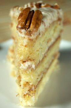 Delicious Italian Cream Cake Recipe ~ Coconut, cream cheese, pecans... Mmmm!