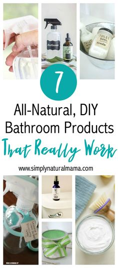 Here are 7 all-natural bathroom products that you can DIY. Not only can you make them yourself and save money, but they are so much better for you and they REALLY work! via @simplynaturalma