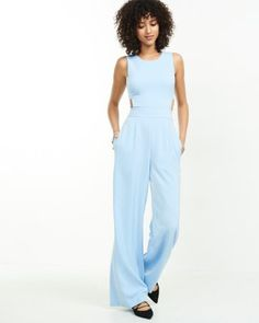 light blue open back jumpsuit from EXPRESS