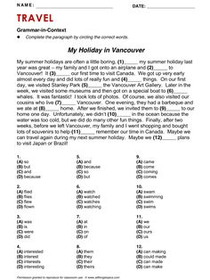 Travel, Reading and Grammar: My Holiday in Vancouver, English, Learning English, Vocabulary, ESL, English Phrases, http://www.allthingstopics.com/travel.html