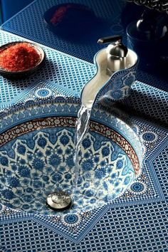 Blue Mosaic Bathroom Sink and faucet