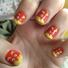 Lorax nails for Dr. Suess's birthday