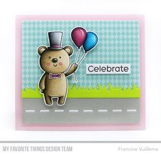 Card by Francine (www.1001cartes.ch) karte, carte, carterie, cardmaking, cardmaker, crafts, papercrafts, handmade, diy, stamping, mftstamps, my favorite things, mft stamps, #mftstamps, safari party, bear, birthday card