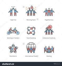 Team work, management, business concept symbols. Thin line art icons with flat colorful design elements. Modern linear style illustrations isolated on white.