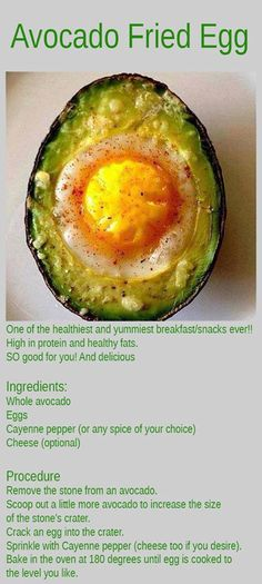 Whole avocado  Eggs  Cayenne pepper (or any spice of your choice)    Remove the pit from an avocado. Scoop out a little more avocado to increase the size of the pit's crater. Crack an egg into the crater. Sprinkle with Cayenne pepper. Bake in the oven at 180 degrees until egg is cooked to the level you like