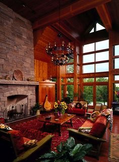 Picture of Ridge house number 70177 from Lindal Cedar Homes: worldwide manufacturer of post and beam homes, solid cedar homes, custom log homes, sunrooms and room additions. Build Your Dream Home, My Dream Home, Dream Homes, Custom Home Designs, Custom Homes, Cabin Interior Design, House Design, Ottawa, Lindal Cedar Homes