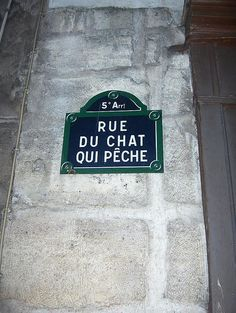 """""""Fishing Cat Street,"""" Paris (which is the narrowest street in Paris, approx. 5' 11"""" across, for its entire length of 32 yards)."""