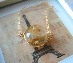 Golden Rutilated Quartz Coin Necklace by amitiedesigns on Etsy, $52.50