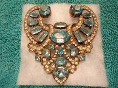 Very Rare Vintage Original Eisenberg Pin, Blue & White Stones Very Large Nice!