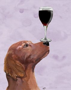 Dog Au Vin 8X10 Red Setter dog print Art Poster wine glass wall art, irish setter print