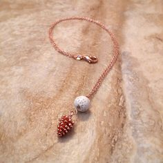 Rose Gold Diffuser Necklace, Pine Cone Charm, 18k Delicate Chain, White Lava Bead, Essential Oils, Simple Jewelry, Aromatherapy Pendant by DownthePathNaturals on Etsy