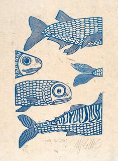 linocut print, With the tide, fish in blue on handmade Nepalese textured paper. $80.00, via Etsy.