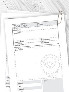 Customer Order Form Template Pdf Instant Download  My Indie