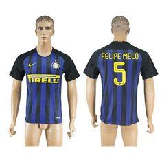 Inter Milan 16-17 #Felipe Melo 5 Hjemmebanetrøje Kort ærmer