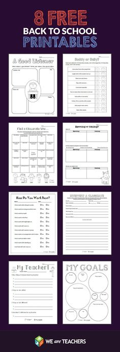 8 Back-to-School Printables from WeAreTeachers! Including: What Makes a Good Listener? Buddy or Bully? Classmate Scavenger Hunt, Goals Sheet, and More! back tp school, back to school diy for kids, back to school label Back 2 School, 1st Day Of School, Beginning Of The School Year, School Fun, Middle School, Starting School, Primary School, First Day Of School Activities, School Resources