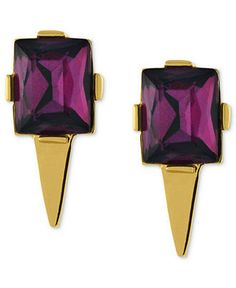 Vince Camuto Earrings, Gold-Tone Amethyst-Colored Stone Pointed Bottom Stud Earrings - Fashion Earrings - Jewelry & Watches - Macy's