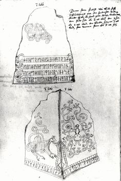 Sketch of Harald Bluetooths rune stone by Jon Skonvig. The National Museum. Viking Meaning, Viking Museum, Viking Longship, Rune Stones, Norse Vikings, Anglo Saxon, My Heritage, Ancient Civilizations, National Museum