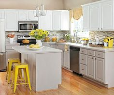 Grey, White and Yellow Kitchen. Beautiful!