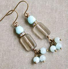 Light blue jade gemstone beaded rhinestone by tiedupmemories