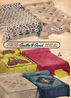 65 Ideas For Vintage Bedroom Decor Chenille Bedspread 1950s Bedroom, Vintage Bedroom Decor, Vintage Room, Vintage Decor, 1950s Decor, Vintage Advertisements, Vintage Ads, Vintage Stuff, Vintage Photography Women
