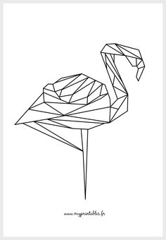 FREE PRINTABLE - Geometric Flamingo color version - Téléchargement : www. Geometric Embroidery, Geometric Drawing, Rose Embroidery, Embroidery Patterns Free, Geometric Shapes, Origami Cat, Origami Animals, Polygon Art, String Art
