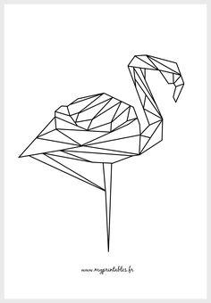 FREE PRINTABLE - Geometric Flamingo - Géométrique Flamant- rose Téléchargement : www.myprintables.fr