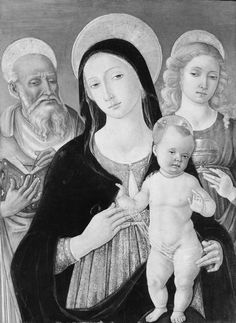 """Madonna and Child with Saints Jerome and Mary Magdalen"" Artist: Matteo di Giovanni di Bartolo (Italian, Siena ca. 1430–1497 Siena) Medium: Tempera and gold on wood Dimensions: 24 1/4 x 17 3/4 in. (61.5 x 45.1 cm) Classification: Paintings"