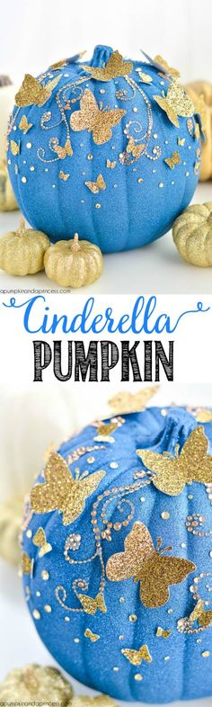 not just for halloween how cute would these be a christmas ball , fairytale birthday party or winter wedding decorations with real sparkle DIY Cinderella Butterfly Pumpkin